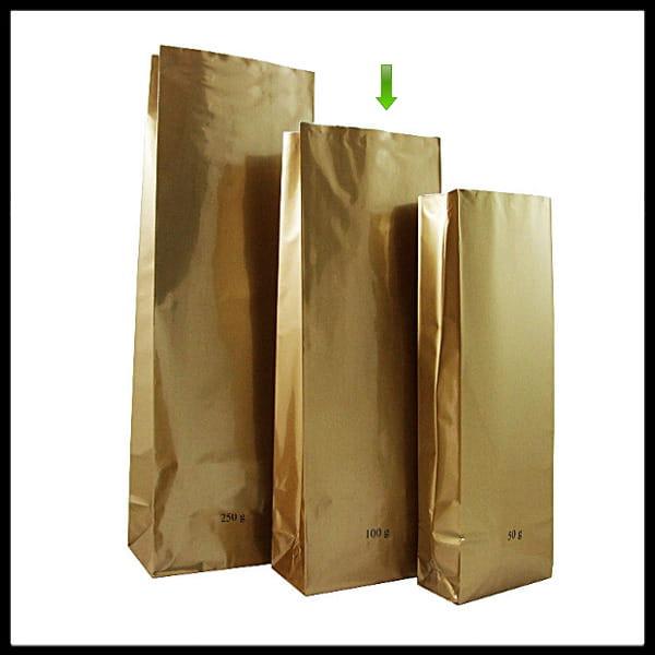32f76c9d0ac4c Torebka złota 100 g trójwarstwowa z dnem (500 sztuk) NA ZAMÓWIENIE ...